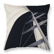 Obsession Sails 5 Black And White Throw Pillow