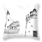 Ocaracoke Lighthouse Detail Sketches 1992 Throw Pillow by Richard Wambach