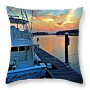 Ocean Addiction Sunset Throw Pillow