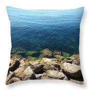 Ocean And Rocks Throw Pillow
