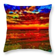 Landscape Ocean Sunset Throw Pillow