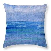 Gentle Ocean Waves -  Original Watercolor Throw Pillow