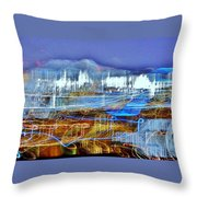 Ocean City Maryland At Night - Blue Throw Pillow
