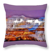Ocean City By Night - Abstract Purple Throw Pillow