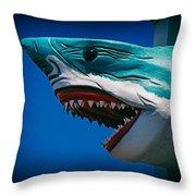 Ocean City Shark Attack Throw Pillow