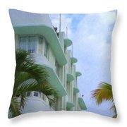 Ocean Drive Hotel Throw Pillow