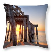 Ocean Grove Pier Sunrise Throw Pillow