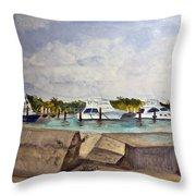 Ocean Inlet Marina Throw Pillow