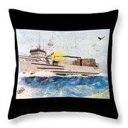 Ocean Olympic King Crab Fishing Boat Nautical Chart Map Art Throw Pillow