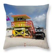 Ocean Rescue Miami Throw Pillow