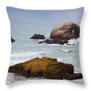 Ocean Rocks Near San Francisco Ca Cliff House Throw Pillow