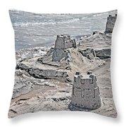 Ocean Sandcastles Throw Pillow by Betsy Knapp