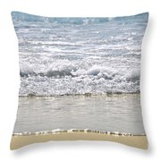 Ocean Shore With Sparkling Waves Throw Pillow