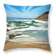 Ocean Side Throw Pillow by Rick Huotari