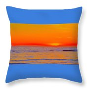 Ocean Sunset In Orange And Blue Throw Pillow