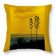Ocean Sunset With Agave Silhouette Throw Pillow