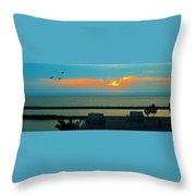 Ocean Sunset With Birds Throw Pillow