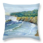 Ocean Surf Colorful Original Seascape Painting Throw Pillow