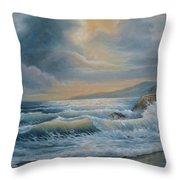 Ocean Under The Evening Glow Throw Pillow