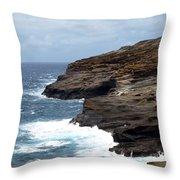 Ocean Vs. Rock Throw Pillow