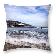 Ocean Waves Blue Sky And A Surfer At Malibu Beach Pier Throw Pillow
