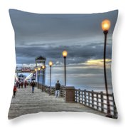 Oceanside Pier At Sunset Throw Pillow