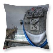 Oceanside Pier California Binocular Vision Throw Pillow by Bob Christopher