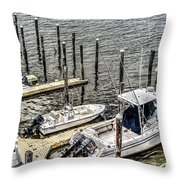 Ocnj Boats At Marina Throw Pillow