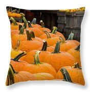 October At The Farm - Pumpkins Throw Pillow