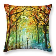 October In The Forest Throw Pillow by Leonid Afremov