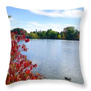 October On The Lake Throw Pillow