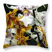 Gold And White Orchids Throw Pillow