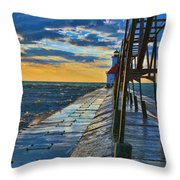 October Sunset At St. Joseph Lighthouse - Simulated Oil  Throw Pillow