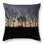 October Sunset Trees Silhouettes Throw Pillow