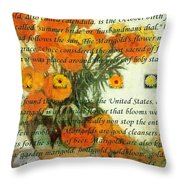 October's Child Birthday Card With Text And Marigolds Throw Pillow