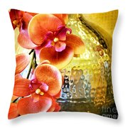 October's Orchids Throw Pillow