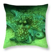 Octopus In The Sand Throw Pillow
