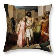 Oedipus And Antigone Or The Plague Of Thebes  Throw Pillow
