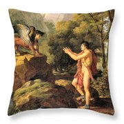 Oedipus And The Sphinx Throw Pillow
