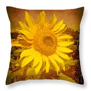 Of Sunflowers Past Throw Pillow
