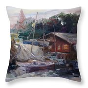 Off Hours At The Ship Yard In Kirchdorf Island Poel Throw Pillow