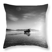 Off Road Uyuni Salt Flat Tour Black And White Throw Pillow