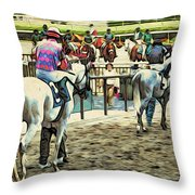 Off To The Race Throw Pillow