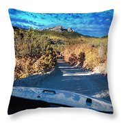 Offroad Driving View From Inside The Car Throw Pillow