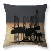 Offshore Drill Rig Platform Throw Pillow