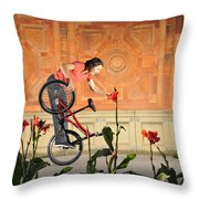 Oh A Pretty Flower - Funny Bmx Flatland Pic With Monika Hinz Throw Pillow