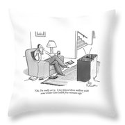 Oh, I'm Really Sorry.  I Just Placed Three Throw Pillow by Leo Cullum