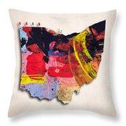 Ohio Map Art - Painted Map Of Ohio Throw Pillow