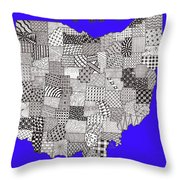 Ohio Map Blue Throw Pillow