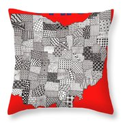 Ohio Map Red Throw Pillow